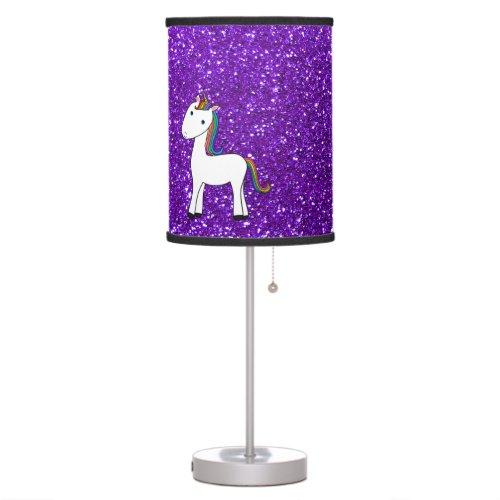 Custom name cute unicorn purple glitter heart lamp