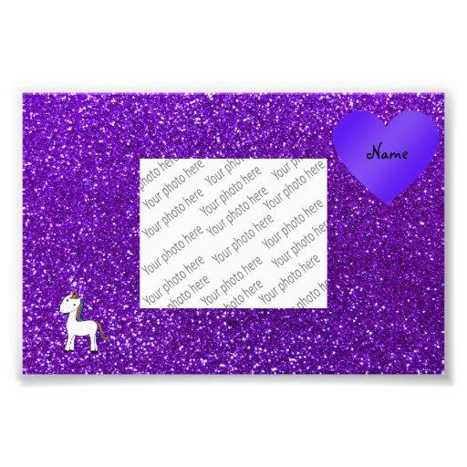 Custom name cute unicorn purple glitter heart photographic print