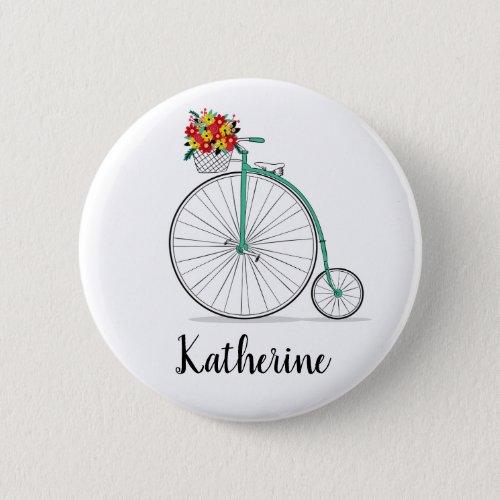 Custom Name Cute Vintage Unicycle Bike Button