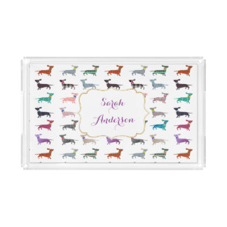 Custom Name Dachshund Pattern Serving Tray