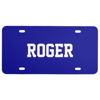 Custom Name Dark Blue License Plate