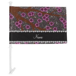 Custom name dark gray glitter cherry blossoms car flag