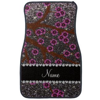 Custom name dark gray glitter cherry blossoms car mat