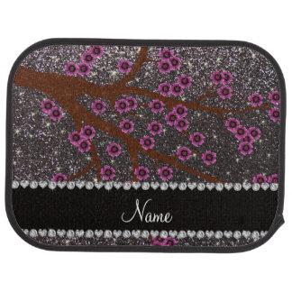 Custom name dark gray glitter cherry blossoms floor mat
