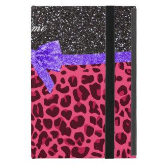 Custom name dark gray glitter pink leopard bow iPad mini cases