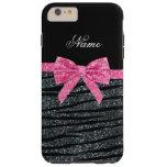 Custom name dark gray glitter zebra stripes bow iPhone 6 plus case