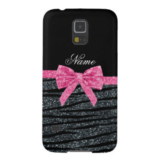 Custom name dark gray glitter zebra stripes bow galaxy s5 case
