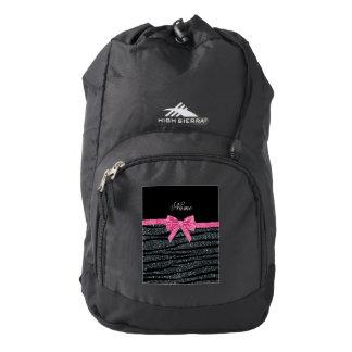 Custom name dark gray glitter zebra stripes bow backpack