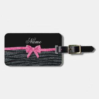 Custom name dark gray glitter zebra stripes bow luggage tags
