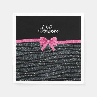 Custom name dark gray glitter zebra stripes bow standard cocktail napkin