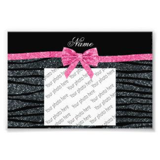 Custom name dark gray glitter zebra stripes bow photo print