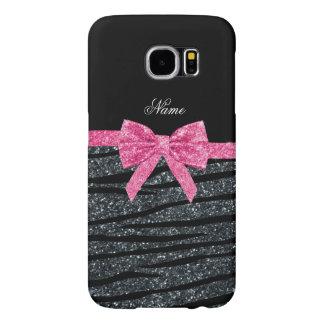 Custom name dark gray glitter zebra stripes bow samsung galaxy s6 case