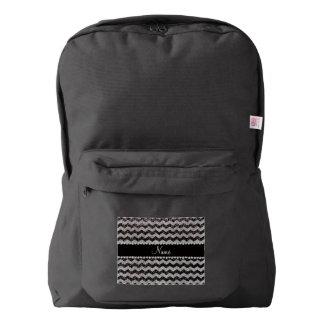 Custom name dark gray silver glitter chevrons backpack