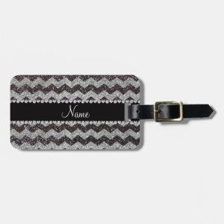 Custom name dark gray silver glitter chevrons bag tags
