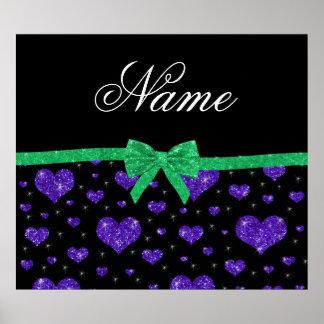Custom name dark purple glitter hearts green bow poster