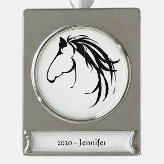 Custom Name date Classic Horse Head Logo Black Silver Plated Banner Ornament
