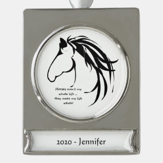 Custom Name date Classic Horse Make life Whole Fun Silver Plated Banner Ornament