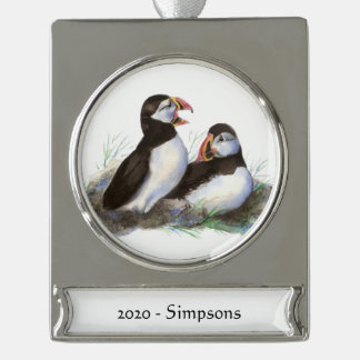 Custom Name Date Cute Puffin Birds Silver Plated Banner Ornament