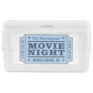 "Custom name, date & location ""Movie Ticket"" cooler"