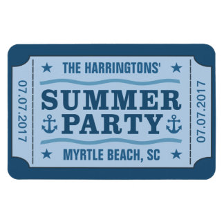 "Custom name, date & location ""Party Ticket"" magnet"