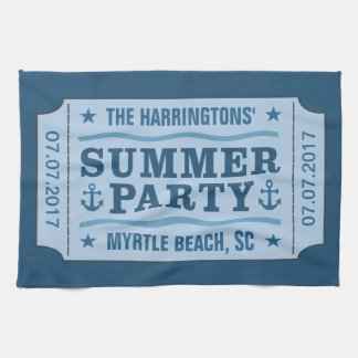 "Custom name, date & location ""Party Ticket"" towel"