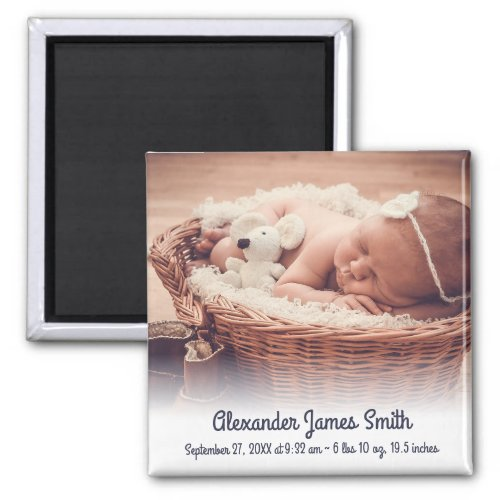 Custom Name Date Photo Baby Boy Birth Announcement Magnet