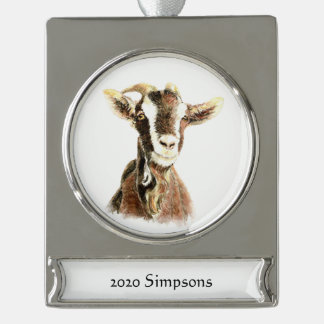 Custom Name Date Watercolor Goat Farm Animal Art Silver Plated Banner Ornament