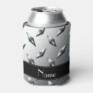 Custom name diamond plate steel black stripe can cooler