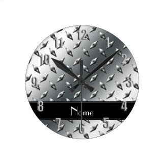 Custom name diamond plate steel black stripe round wall clock