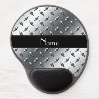 Custom name diamond plate steel black stripe gel mouse pad