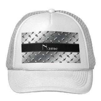 Custom name diamond plate steel black stripe mesh hat
