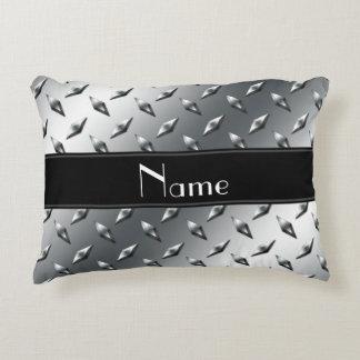 Custom name diamond plate steel black stripe accent pillow
