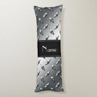 Custom name diamond plate steel black stripe body pillow