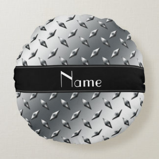 Custom name diamond plate steel black stripe round pillow