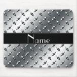 Custom name diamond plate steel black stripe mouse pad