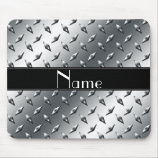 Custom name diamond plate steel black stripe mouse pad