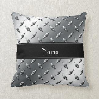 Custom name diamond plate steel black stripe pillow
