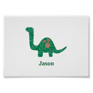 Custom Name Dinosaur Poster