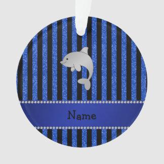 Custom name dolphin black blue glitter stripes