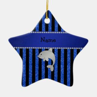 Custom name dolphin black blue glitter stripes christmas tree ornament