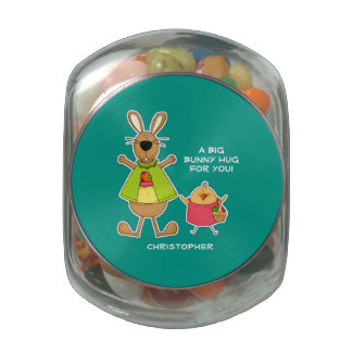 Custom Name Easter Bunny and Chick Candy Glass Candy Jar