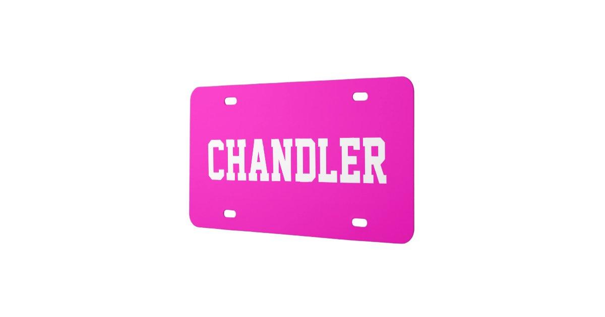 Custom Name Electric Pink License Plate Zazzle