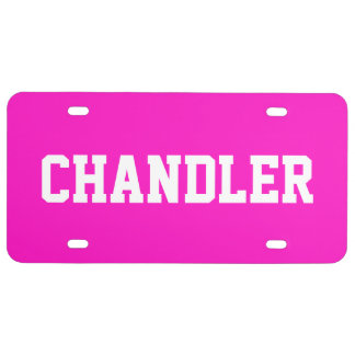 Custom Name Electric Pink License Plate