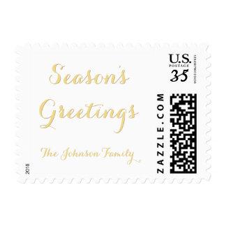 Custom Name Elegant Faux Gold Seasons Greetings US Postage