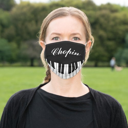 Custom name face mask with grand piano keys