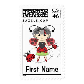 Custom Name Fairies Stamp Postage Ladybug Fairy