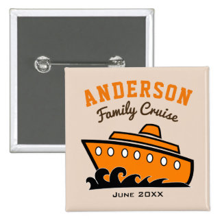 Custom Name Family Cruise Vacation Pinback Button