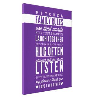 CUSTOM NAME FAMILY RULES modern typography purple Canvas Print