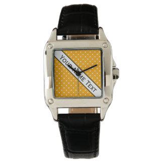 Custom Name, Fashionable O Yellow & Polka Dots Watches