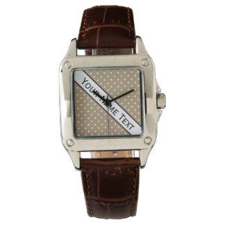 Custom Name Fashionable S Brown & White Polka Dots Watch